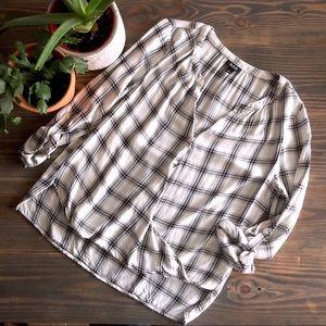 a.n.a. twist-front plaid blouse, size L